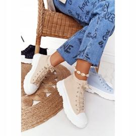FB2 Women's High Sneakers Beige Trissy On A Large Sole 7