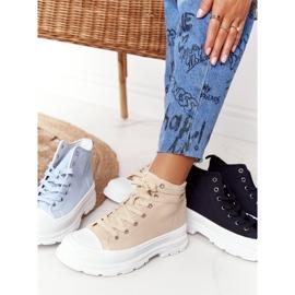 FB2 Women's High Sneakers Beige Trissy On A Large Sole 4
