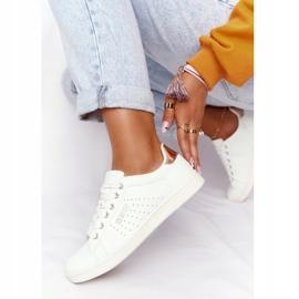 Women's Leather Sneakers Big Star DD274583 White-Copper golden 2