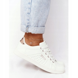 Women's Leather Sneakers Big Star DD274583 White-Copper golden 8
