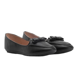 Ladies' black moccasins with Ingrid bow 1