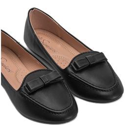 Ladies' black moccasins with Ingrid bow 4
