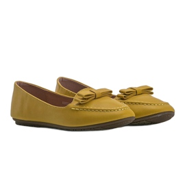 Yellow ladies loafers with Ingrid bow 1