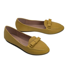 Yellow ladies loafers with Ingrid bow 2