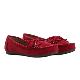 Red Kira eco-suede loafers 1