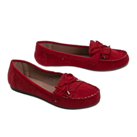Red Kira eco-suede loafers 2