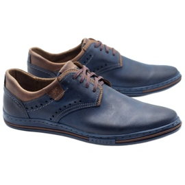 Polbut Casual men's shoes 402 navy blue with brown 1