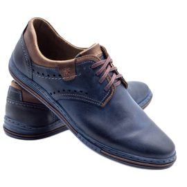 Polbut Casual men's shoes 402 navy blue with brown 2