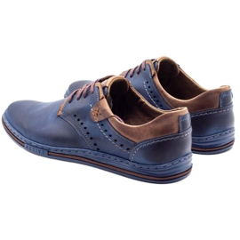Polbut Casual men's shoes 402 navy blue with brown 4