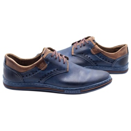 Polbut Casual men's shoes 402 navy blue with brown 3