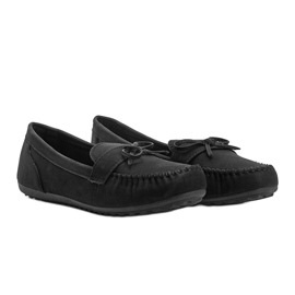 Black matte loafers with a Deborah bow 1