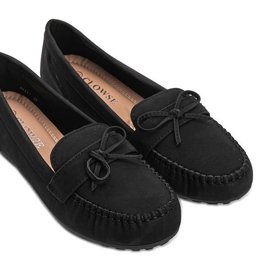 Black matte loafers with a Deborah bow 2
