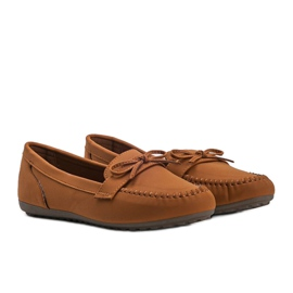 Brown matte loafers with a Deborah bow 1