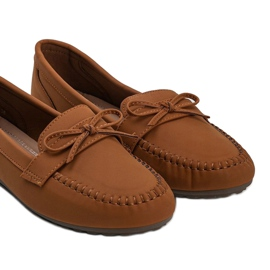 Brown matte loafers with a Deborah bow 2