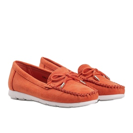 Orange eco-suede loafers with a Mckayla bow 1