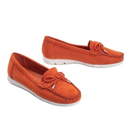Orange eco-suede loafers with a Mckayla bow 2