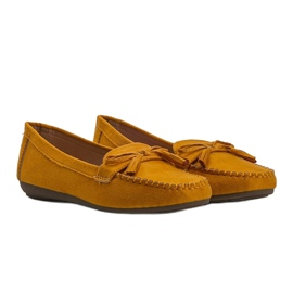 Yellow women's loafers with a Kassandra bow 1