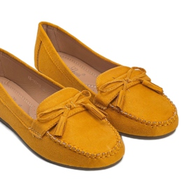 Yellow women's loafers with a Kassandra bow 2