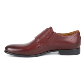 Kampol Men's formal monk shoes 341/17 burgundy red 1