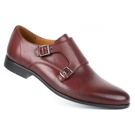 Kampol Men's formal monk shoes 341/17 burgundy red 2