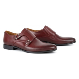 Kampol Men's formal monk shoes 341/17 burgundy red 3
