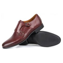 Kampol Men's formal monk shoes 341/17 burgundy red 4