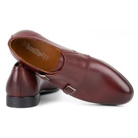Kampol Men's formal monk shoes 341/17 burgundy red 5