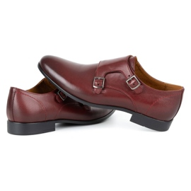 Kampol Men's formal monk shoes 341/17 burgundy red 6