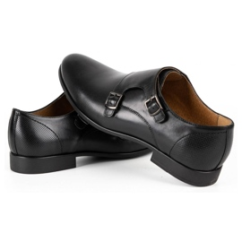 Kampol Men's formal monk shoes 341/15 black 5