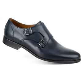 Kampol Men's formal monk shoes 341/54 navy blue 2