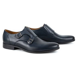 Kampol Men's formal monk shoes 341/54 navy blue 3