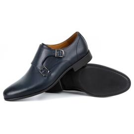 Kampol Men's formal monk shoes 341/54 navy blue 4