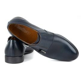Kampol Men's formal monk shoes 341/54 navy blue 5