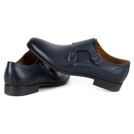 Kampol Men's formal monk shoes 341/54 navy blue 6