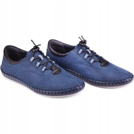 Kampol Men's casual shoes 337/53 navy blue 5