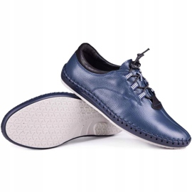 Kampol Men's casual shoes 337/63 navy blue grain 1
