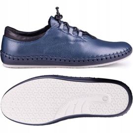 Kampol Men's casual shoes 337/63 navy blue grain 2