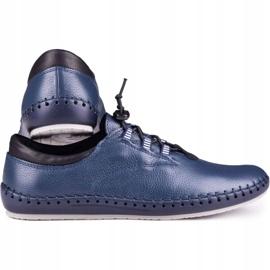 Kampol Men's casual shoes 337/63 navy blue grain 3