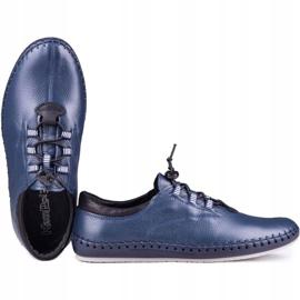 Kampol Men's casual shoes 337/63 navy blue grain 4