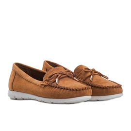 Brown eco-suede loafers with a Mckayla bow 1