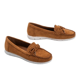 Brown eco-suede loafers with a Mckayla bow 2