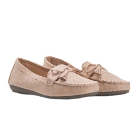 Ladies' beige moccasins with a Kasandra bow 1