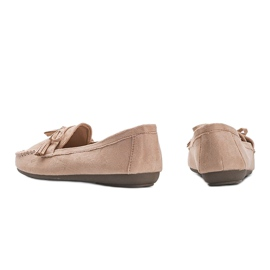 Ladies' beige moccasins with a Kasandra bow 2