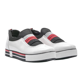 Jayde lacquered white trainers 2