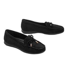 Black eco-suede loafers with a Mckayla bow 3