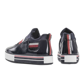 Navy blue lacquered Kaitlynn trainers 1