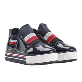 Navy blue lacquered Kaitlynn trainers 2