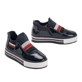 Navy blue lacquered Kaitlynn trainers 3