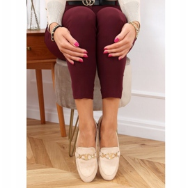 Women's beige loafers T395 Beige 3