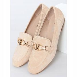 Women's beige loafers T395 Beige 1
